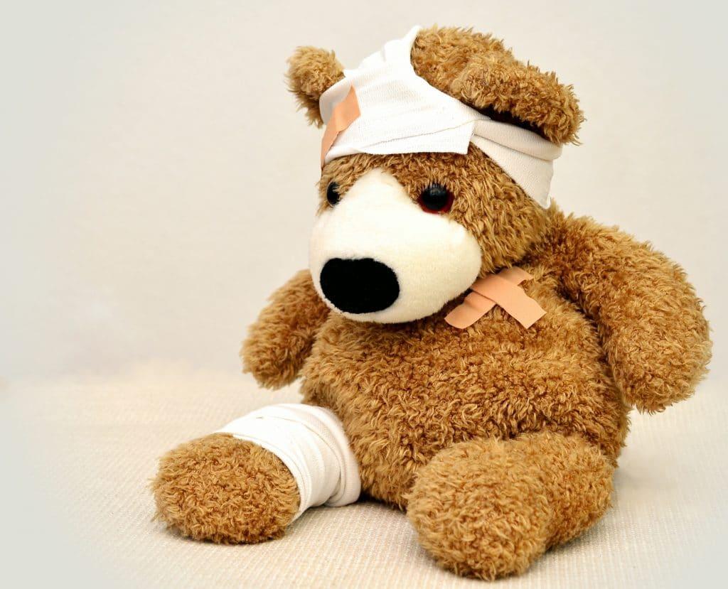 An image of an injured stuffed animal.