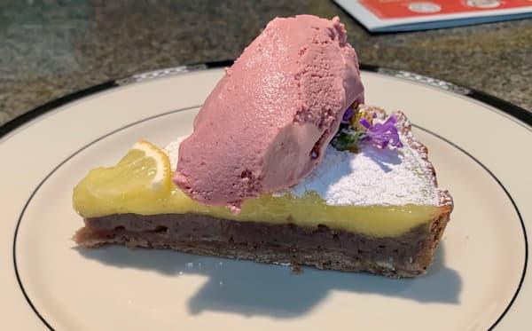 Aviation tart with cherry ice cream